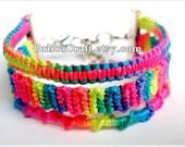 Neon Gradient Rainbow Friendship Bracelet 2,2cm - ready to buy