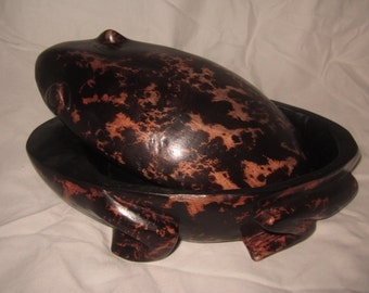 Ebony Wood Jewelry Frog Shaped Box,carving,wood,gift,