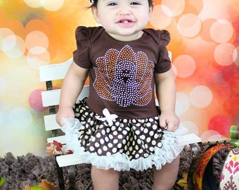 Sparkle Turkey Thanksgiving Baby Dress