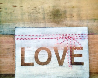 Love sign - hand painted on reclaimed wood