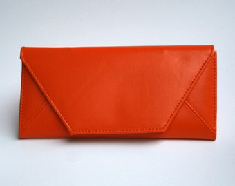 Orange Wallet, Orange Leather Wallet, Leather Wallet, Womens wallet, envelope Shaped wallet