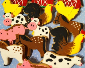 Custom Farm Animal and Barn Sugar Cookies