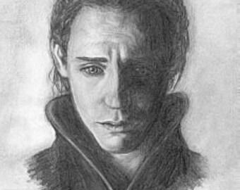 Loki / Tom Hiddleston print of pencil drawing