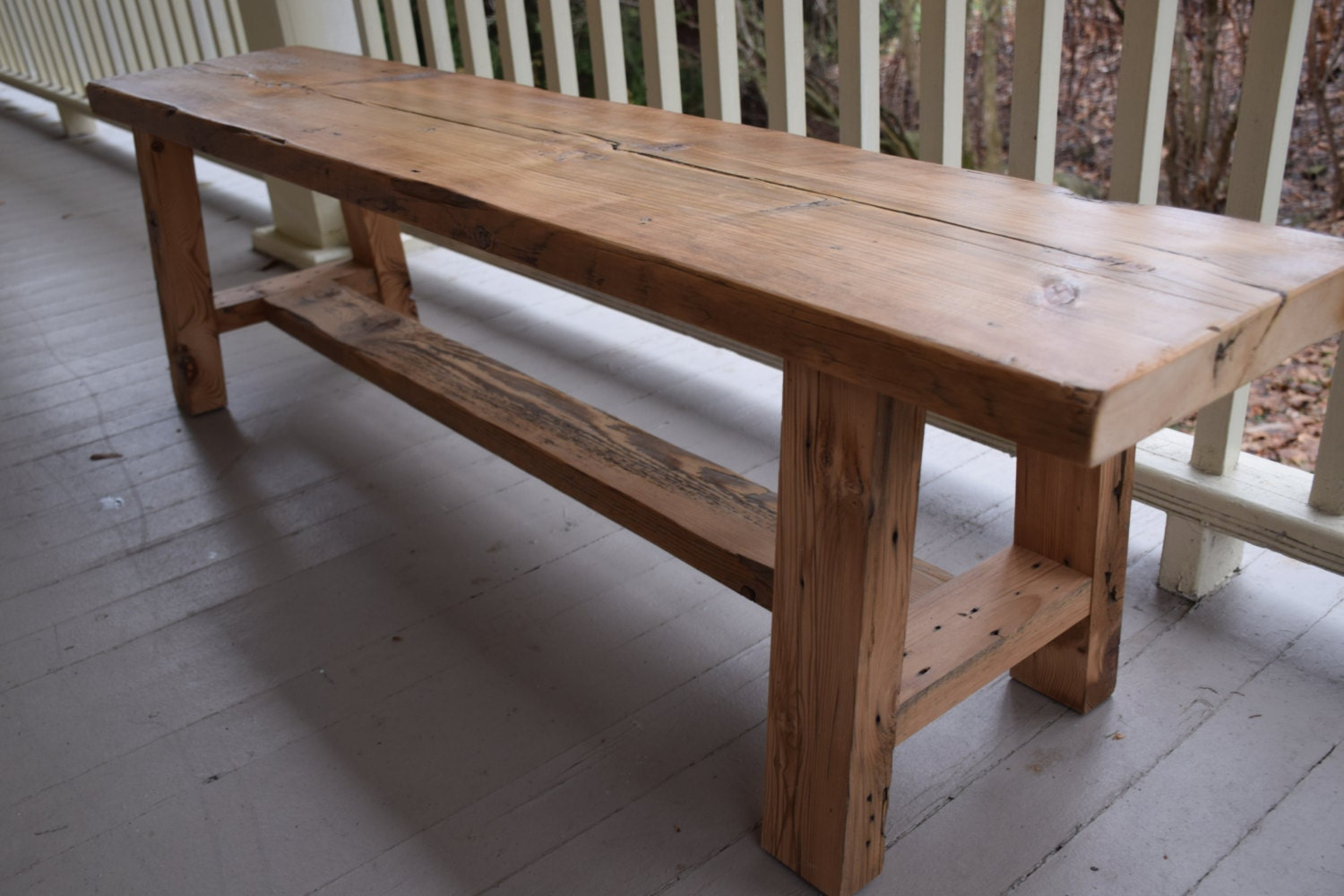 Reclaimed wood bench entryway barn
