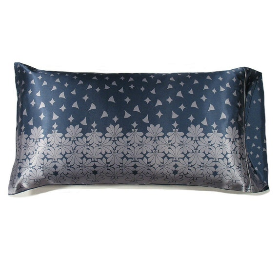 Blue And Silver Charmeuse Satin Pillowcase King Size Help Hair