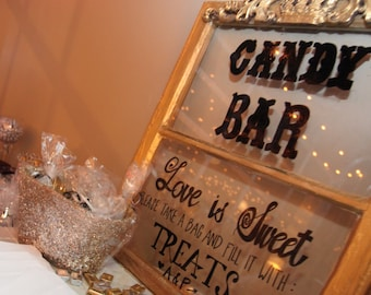 Wedding Window Pane Sign, Candy Bar Example, Customization Included
