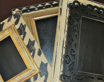 Set of 3 Distressed Frames in Black & Cream with a Splash of Gold --Chevron, Houndstooth, and Solid With Intriquite Wooden Overlay