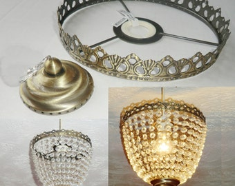 Deep Bag Chandelier Metal Frame No Drops Make Your Own Chandelier Light Shade Kit Pendant Lamp / Wedding Cake Stand Decoration Vintage Look
