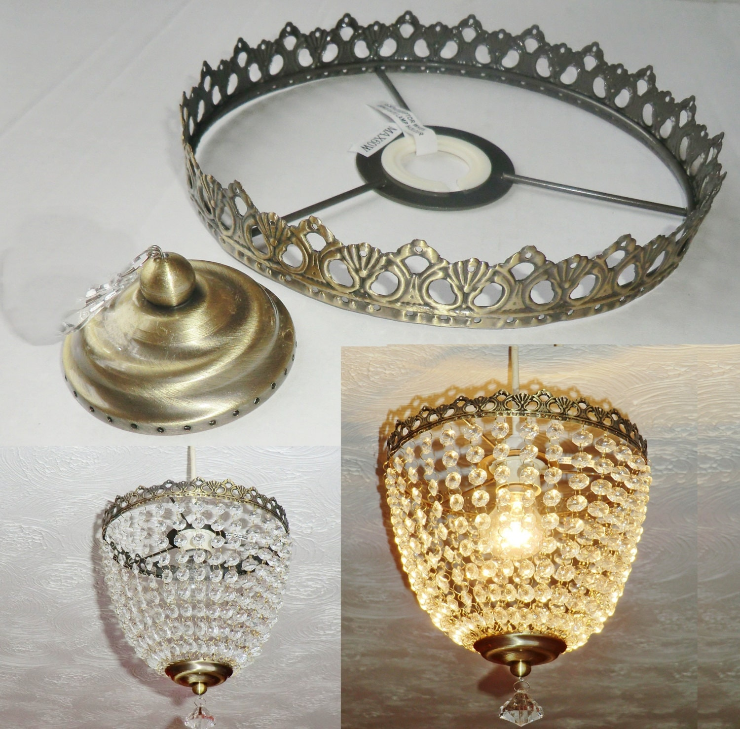 Deep Bag Chandelier Metal Frame No Drops Make Your Own Chandelier ...