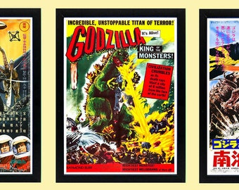 godzilla poster set of 3 movie posters framed a quality - Movie Posters Framed