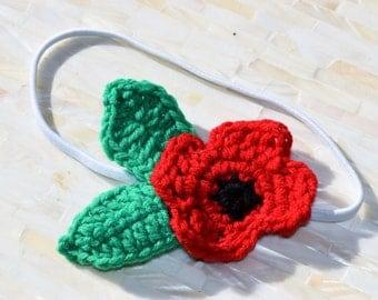 White Elastic Headband with Red Crochet Poppy