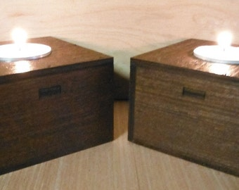 DIY Wooden T Light Holder set of 2