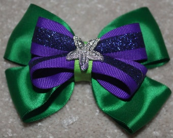 The Little Mermaid Ariel Inspired Starfish Boutique Bow
