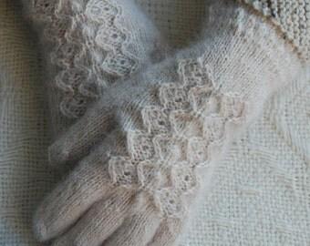 White gloves, knit gloves, handmade gloves, women assessories