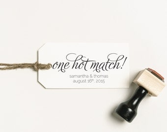 One Hot Match Favor Stamp, Match Love Stamp, Personalized Stamp, Matches Favor Rubber Stamp, Sparkler Wedding Stamp (SFAVS124 - S.1)