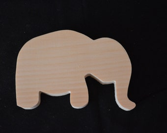 Handcrafted Wooden Unfinished Elephant Cutout