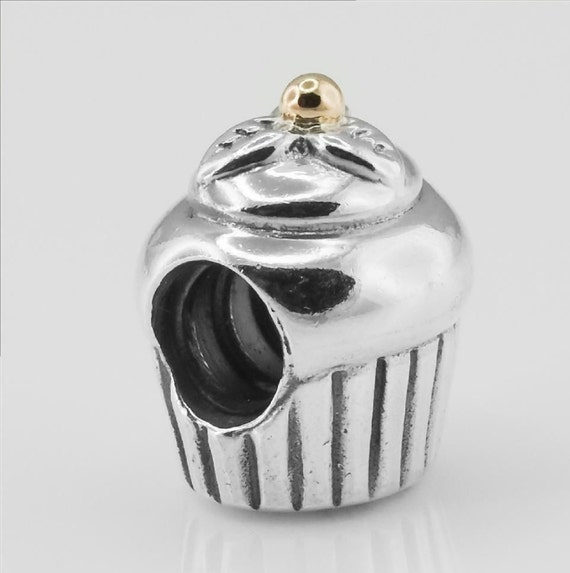 authentic genuine pandora two tone cupcake charm with by