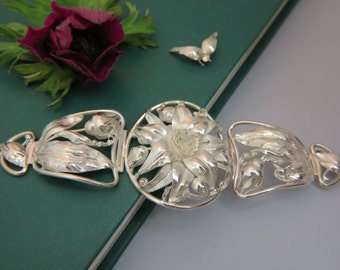 Sterling Silver Bracelet, Handmade Bracelet. Flower Bracelet. Bridal Bracelet.