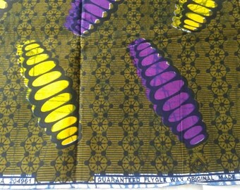 African wax print fabric by the yard, African cotton fabric, Wax, Purple and yellow chrysalis printed cotton