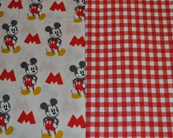 Mickey Mouse and Red Gingham Baby Blanket - cotton