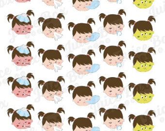 Set of 30 Sick Little Girl Stickers for Various Calendars, Planners, and Journals.