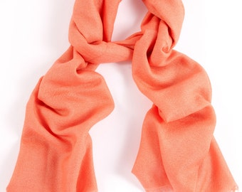 Coral  70% Cashmere and Silk Scarf