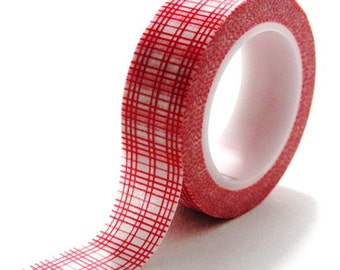 10m Red and White Hash Stripes Washi Tape Tartan Paper Masking Deco Tape 15mm