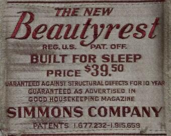 Beautyrest Mattress Label from 1932