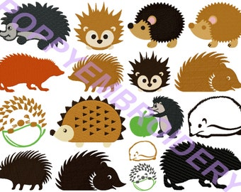 hedgehog  Design for Embroidery machine /  herisson motifs pour broderie machine / INSTANT DOWNLOAD