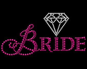 "Bride Nailhead Rhinestone Combo Tee Shirt 6.50"" x 3.50"""