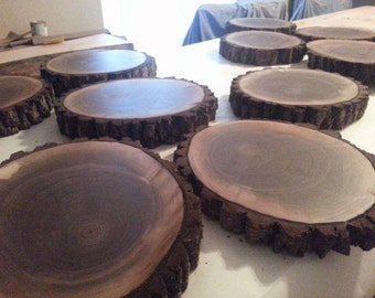 Decorative rustic log slices,  wood slices,  tree slices ,  wedding decor, walnut rounds,  country kitchen ,cookies