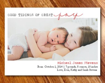 Holiday Photo Card Birth Announcement, Christmas Birth Announcement // Good Tidings of Great Joy