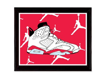 Air Jordan 6 Sneaker Shoe Illustration Poster Print VI