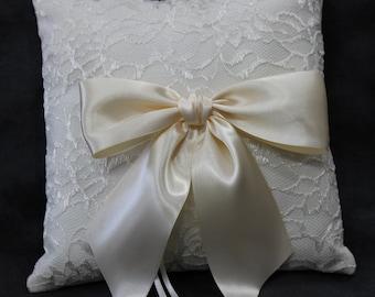 Ivory Lace Ring Pillow Satin Ribbon Shantung Silk Ring Bearer Pillow Bridal Wedding Cushion