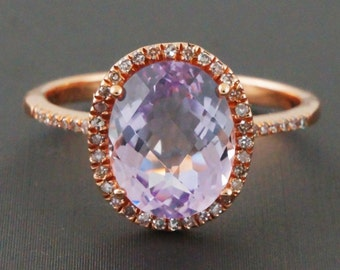 2.47ct Faceted Oval Pink Amethyst & Diamonds 14K Rose Gold Solitaire Halo Ring - CUSTOM MADE
