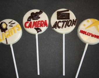 20 Chocolate HOLLYWOOD MOVIES Lollipop Party Favors