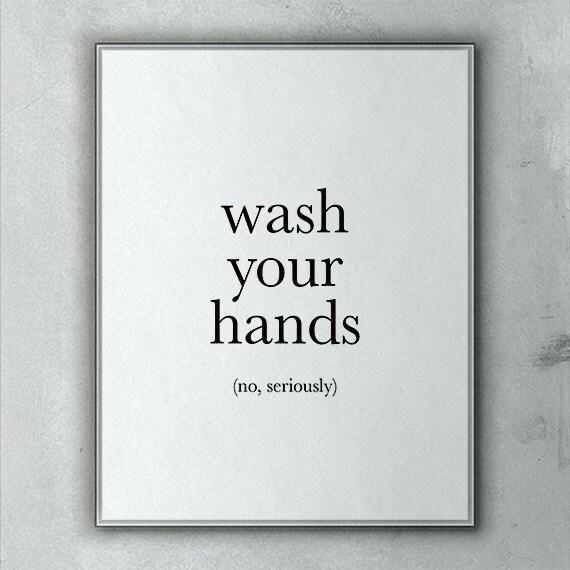 funny bathroom art wash your hands no seriously printable bathroom decor wall art washroom art bathroom printable printable art myprintableart - Funny Bathroom Art