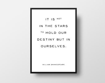Stars Quote, Destiny Quote, William Shakespeare, Motivational Quote, Shakespeare, Life Quote, Minimalist Art, Inspirational Poster