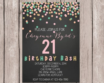 PRINTABLE- 21st Birthday Invite- 21st Birthday Invitation- 21st Confetti  Invite- 21st Party Invite- 21st Party Invitation- 5x7 JPG