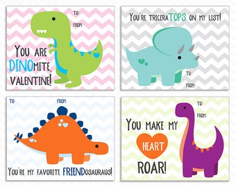 Printable Dinosaur Valentine Cards - Instant Download