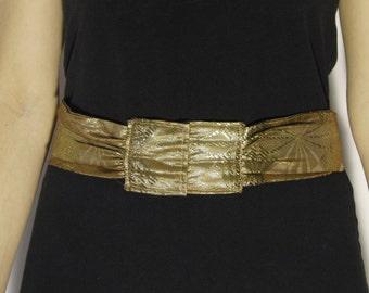 Vintage Belt High Waist Golden Fabric 1980s