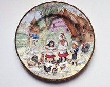 Vintage Bone China Plate, Children Playing in the Farmyard, signed by the Artist Emilie Rohida, 00028