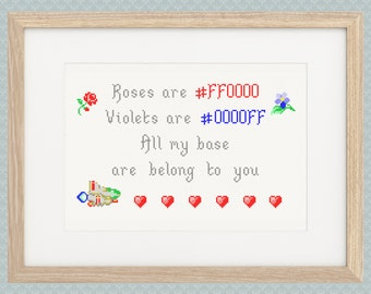 All My Base Are Belong To You Cross Stitch Pattern - Zero Wing, Roses are #FF0000