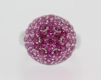 925 Colors Of Pink Corandum Ring .