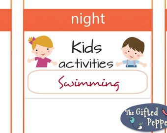 Kids Activities sticker [Printable], version 1. For Erin Condren Planner. Stickers.