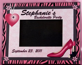 Personalized Bride to Be Bachelorette Party Frame Hot Pink and Black Zebra Design