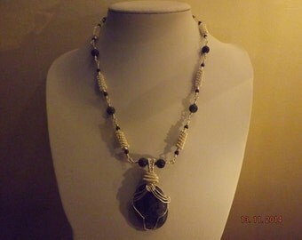 Hand crafted Sodalite Gemstone Wire Work Necklace + FREE EARRINGS