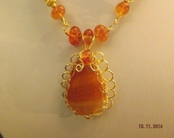 Faceted Agate Wire Work Neclace + FREE EARRINGS