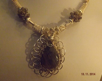 Genuine Gemstone  Labradorite Wire Work Pendant + Free Earrings