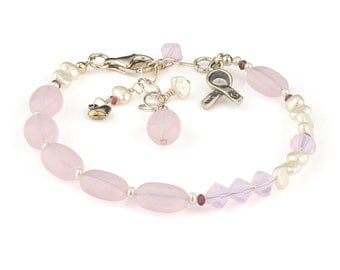 Pink blush bracelet with breast cancer awareness charm